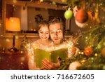 christmas eve  happy family... | Shutterstock . vector #716672605