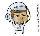 cartoon stressed astronaut   Shutterstock .eps vector #716673226