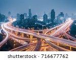 shanghai elevated road junction ... | Shutterstock . vector #716677762