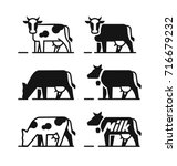 dairy cow symbols for your milk ... | Shutterstock .eps vector #716679232