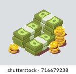 stacked pile of cash with coin. ... | Shutterstock .eps vector #716679238