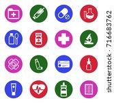 pharmacy icons. white flat... | Shutterstock .eps vector #716683762