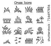 grass icon set in thin line... | Shutterstock .eps vector #716697856