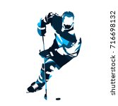 ice hockey player skating with... | Shutterstock .eps vector #716698132
