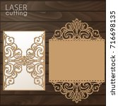 laser cut wedding invitation... | Shutterstock .eps vector #716698135