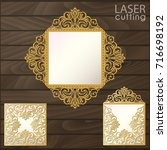 laser cut square envelope with... | Shutterstock .eps vector #716698192