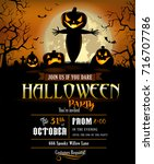 halloween party poster with... | Shutterstock .eps vector #716707786