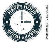 happy hour rubber stamp with...   Shutterstock .eps vector #716708368