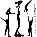 gymnasts acrobats vector black... | Shutterstock .eps vector #716714626