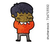 cartoon curious boy   Shutterstock .eps vector #716715532
