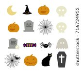 halloween colored vector icon... | Shutterstock .eps vector #716724952