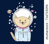 space cat astronaut. space cat...   Shutterstock .eps vector #716725096