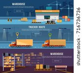 warehouse banner  cargo... | Shutterstock .eps vector #716736736