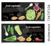 vegetables banner. eco farmer... | Shutterstock .eps vector #716737126