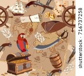 old pirate treasure map... | Shutterstock .eps vector #716737258