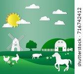 animals in the green farm... | Shutterstock .eps vector #716742412