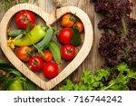 set of different fresh raw... | Shutterstock . vector #716744242