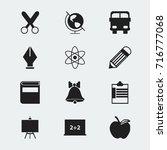 set of 12 editable education... | Shutterstock .eps vector #716777068
