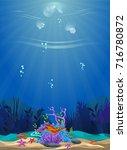 a beautiful underwater scene.... | Shutterstock .eps vector #716780872