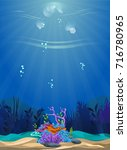 a beautiful underwater scene.... | Shutterstock .eps vector #716780965