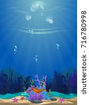 a beautiful underwater scene.... | Shutterstock .eps vector #716780998