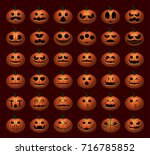 halloween pumpkin faces | Shutterstock .eps vector #716785852