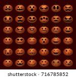 halloween pumpkin faces | Shutterstock .eps vector #716785852