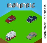 isometric car set of suv  first ...