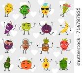 funny fruits set color flat... | Shutterstock .eps vector #716787835