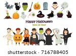 set of color costumed girls and ...   Shutterstock .eps vector #716788405