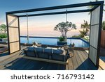 sea view swimming pool in... | Shutterstock . vector #716793142