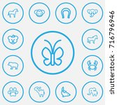 set of 13 editable zoo outline...
