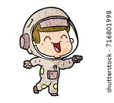 happy cartoon astronaut | Shutterstock .eps vector #716801998