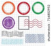 blank postal stamps set... | Shutterstock .eps vector #716802952