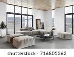 modern bright interiors. 3d... | Shutterstock . vector #716805262