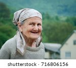 very old rural woman smiling... | Shutterstock . vector #716806156