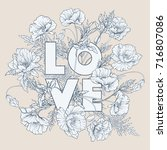 vintage card style with poppies ... | Shutterstock .eps vector #716807086