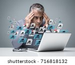 businessman working with a... | Shutterstock . vector #716818132