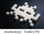 Small photo of Cubes of Sugar Space Invaders Pixel Art Style