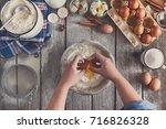 making dough top view. overhead ... | Shutterstock . vector #716826328