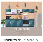 kitchen interior  with table ... | Shutterstock .eps vector #716840272