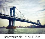 manhattan bridge over the east... | Shutterstock . vector #716841706