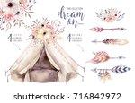 hand drawn watercolor tribal... | Shutterstock . vector #716842972