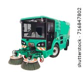 new street sweeper machine with ... | Shutterstock . vector #716847802
