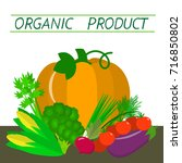 vector vegetables icons set in... | Shutterstock .eps vector #716850802