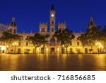valencia city hall on plaza del ... | Shutterstock . vector #716856685