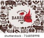 vector barbecue party... | Shutterstock .eps vector #716858998