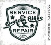 motorcycle vintage graphics ... | Shutterstock .eps vector #716864722