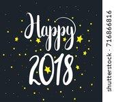 happy 2018  unique hand drawn...   Shutterstock .eps vector #716866816