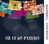 dia de los muertos or halloween ... | Shutterstock .eps vector #716866948